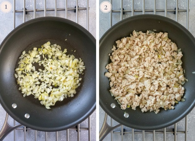 Collage for two photo, one showing soften onion in a non stick skillet and the other showing cooked ground turkey in a skillet.