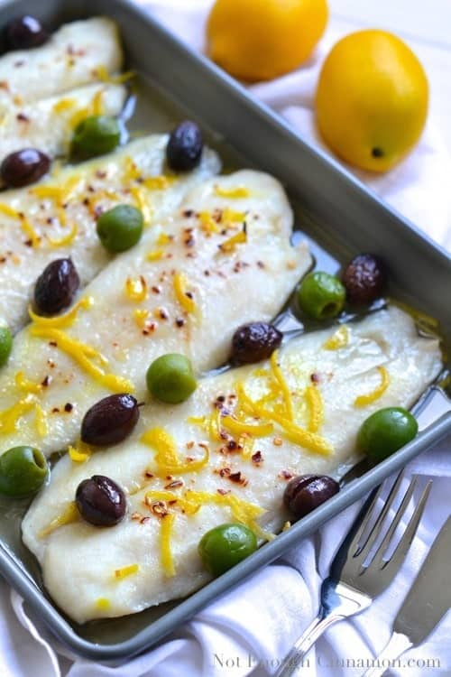 Baked Fish with Olives and Lemon | www.notenoughcinnamon.com
