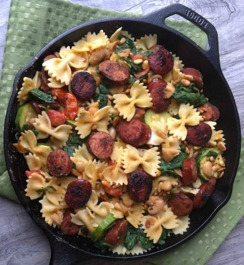 Smoked-Sausage-White-Bean-and-Spinach-Pasta-with-Toasted-Pine-Nuts-1