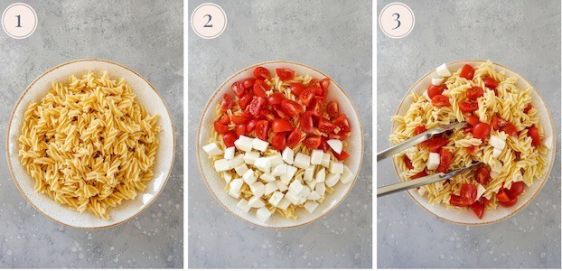 step by step pictures showing how to make a caprese pesto pasta salad with a bowl of cooked pasta, then cherry tomatoes and mozzarella.