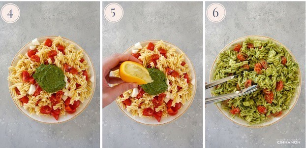 step by step pictures showing how to make a caprese pesto pasta salad with a bowl of cooked pasta then pesto and lemon juice.