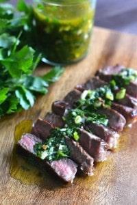 Steak with Chimichurri Sauce - Pin