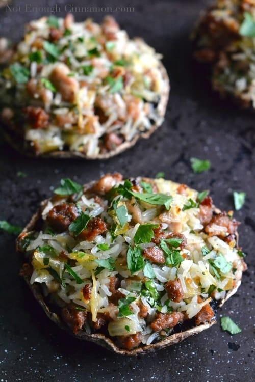Sausage and Rice Stuffed Portobello Mushrooms - www.notenoughcinnamon.com @NECinnamon