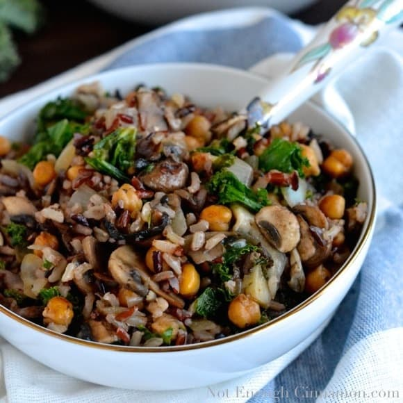 Kale, Mushroom and Roasted Chickpea Rice Bowls - Pin
