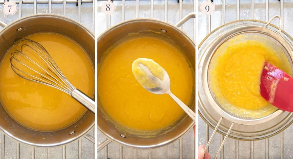 Step by step photos to make lemon curd