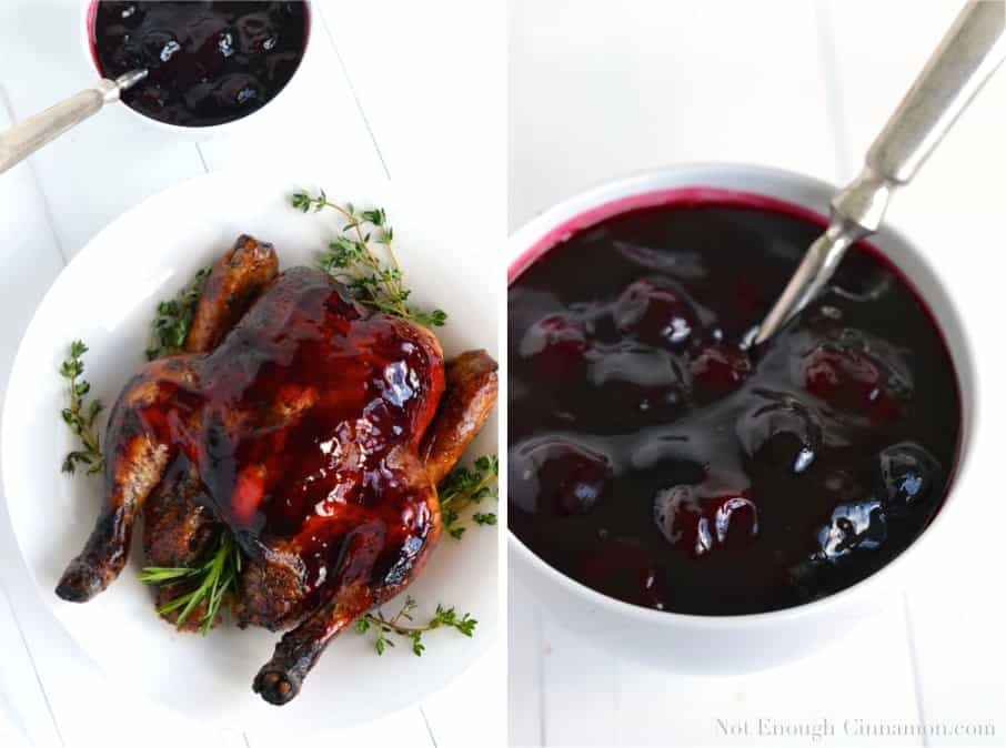Balsamic Roasted Chicken smothered with a homemade Easy Cherry Sauce served on a white plate