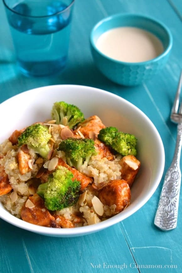 Chicken and Broccoli Quinoa Salad with Tahini Dressing