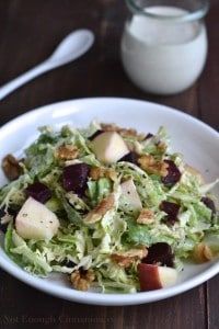 Chopped Brussels Sprout Salad with Skinny Blue Cheese Dressing