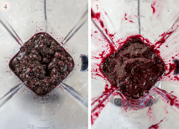 A collage showing blueberry chia seed jam in a blender
