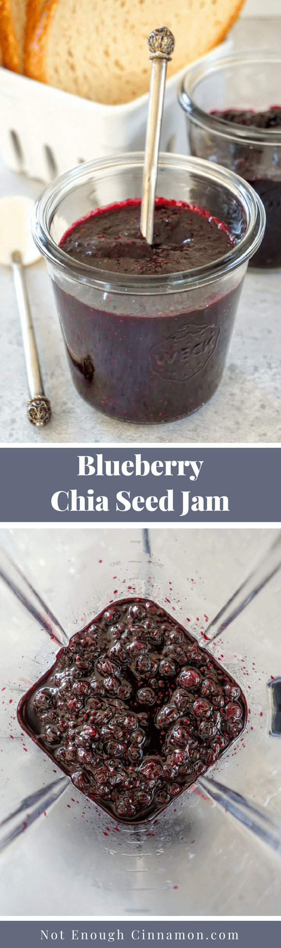 A low-sugar easy jam recipe made with chia seeds. Paleo, Vegan, Gluten Free and Refined Sugar Free. Recipe on NotEnoughCinnamon.com