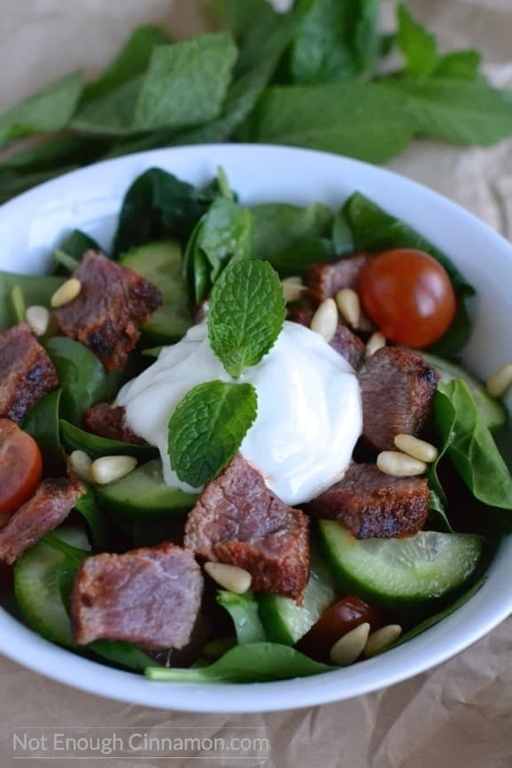 close-up of Mediterranean Lamb Salad with spinach, tomatoes and pine nuts served with a dollop of creamy Greek yogurt dressing and some fresh mint leaves on top