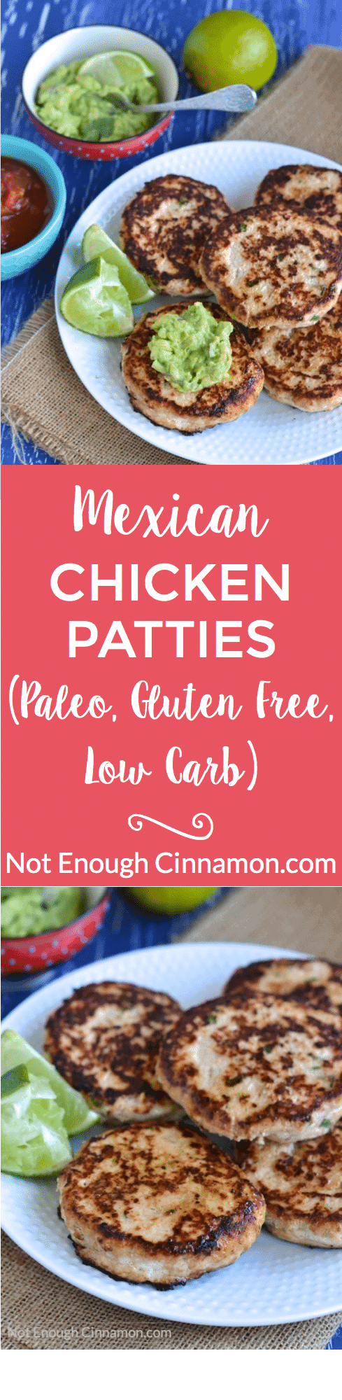 Easy to make and delicious, these gluten free Mexican chicken patties will be a hit for dinner with your whole family! #recipe #paleo #glutenfree #low carb