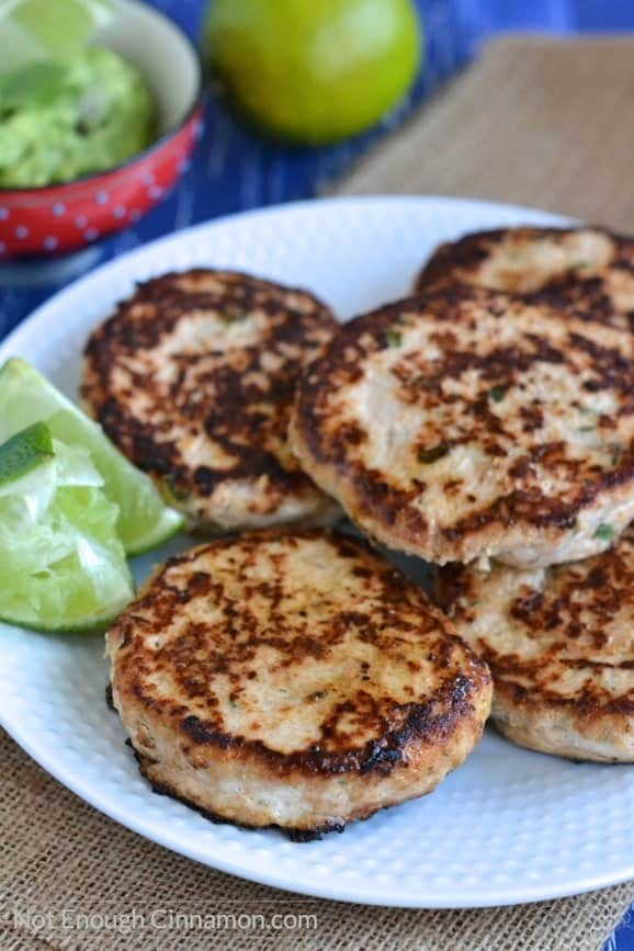 close-up of juicy paleo chicken patties on a plate (chicken patty recipe)