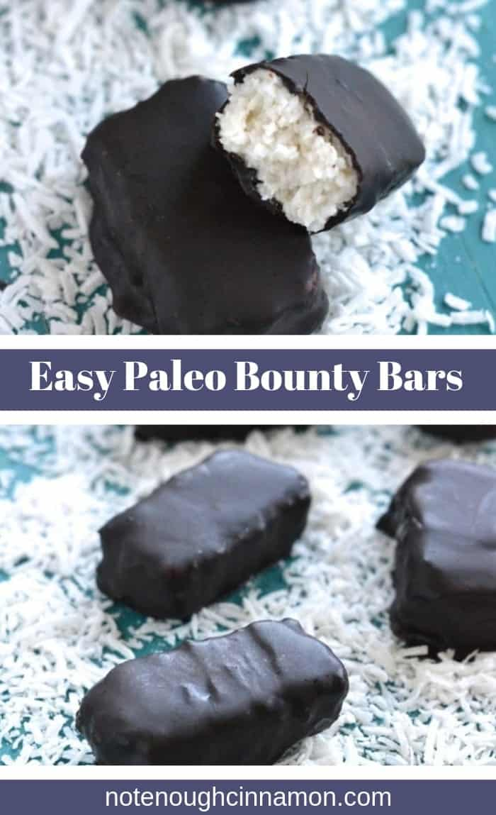 Easy Homemade Vegan and Paleo Bounty Bars, refined sugar-free and dairy free. The perfect guilt-free snack that you can make at home with only a handful of healthy ingredients! 