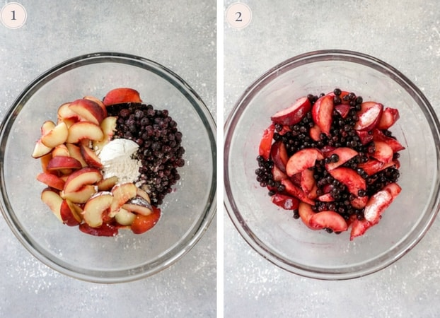 Collage of two step by step photos to make blueberry peach crisp
