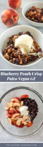Pinterest collage for a blueberry peach crisp recipe