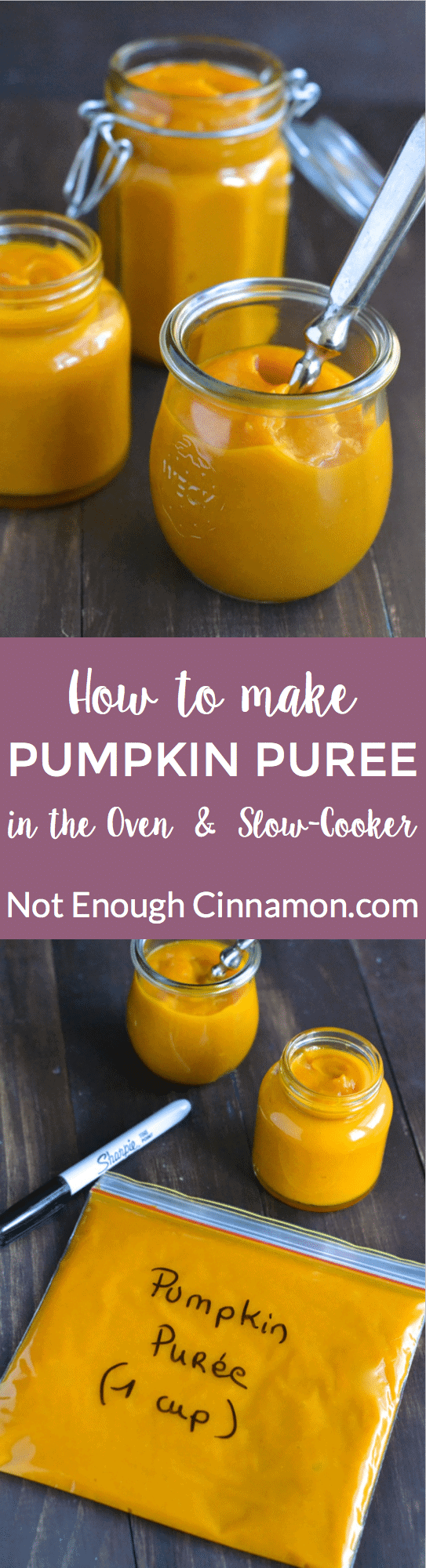 Learn how to make pumpkin puree in the oven or in the slow cooker with this easy recipe. Homemade, this fall baking staple is much tastier and cheaper than the storebought canned version! All you need is a pumpkin!#pumpkinpuree, #fallbaking, #homemade, #healthyrecipes, #bakinghacks