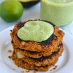 Sweet Potato Quinoa Patties with Creamy Cilantro Avocado Sauce | Find the recipe on NotEnoughCinnamon.com #vegetarian #healthy
