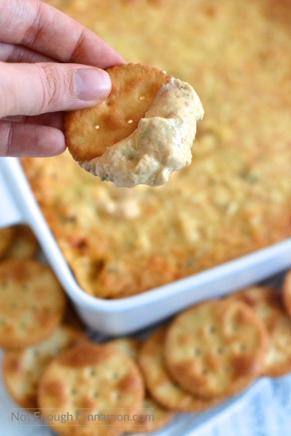 Can you believe this dip is less than 90 cal per serving? But it tastes AMAZING and no one will ever know it's skinny!   Find this recipe on NotEnoughCinnamon.com #appetizer #party #football
