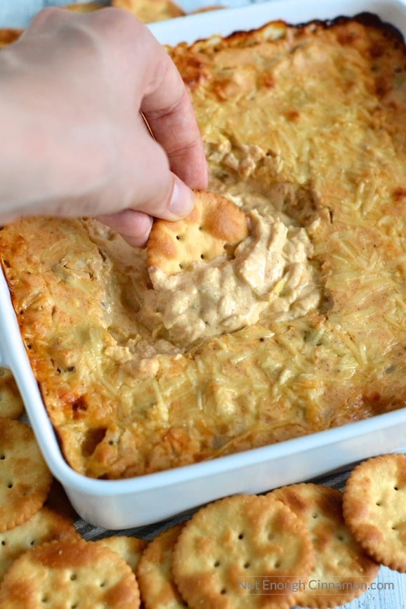 Can you believe this dip is less than 90 cal per serving? But it tastes AMAZING and no one will ever know it's skinny! | Find this recipe on NotEnoughCinnamon.com #appetizer #party #football