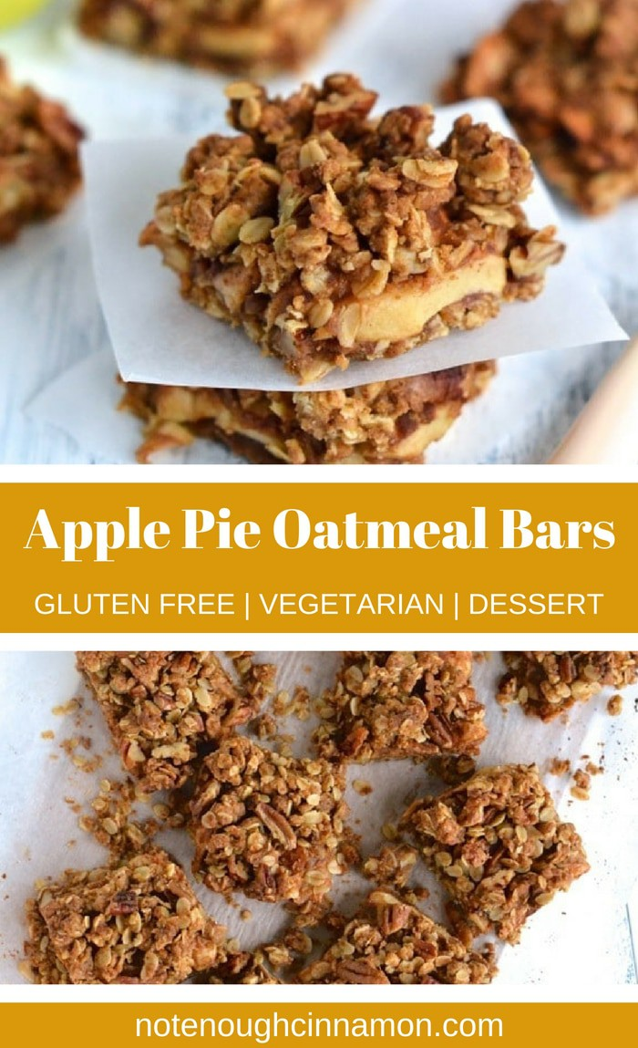 These healthy Apple Pie Oatmeal Bars with a crunchy pecan streusel topping are a decadent tasting, yet healthy breakfast treat or snack recipe! These taste just like apple pie but are made without refined sugar. They can be made gluten-free by using gluten-free flour!  #fallbaking, #healthydessert #healthybreakfast #applepie #vegetaria, #oatmeal
