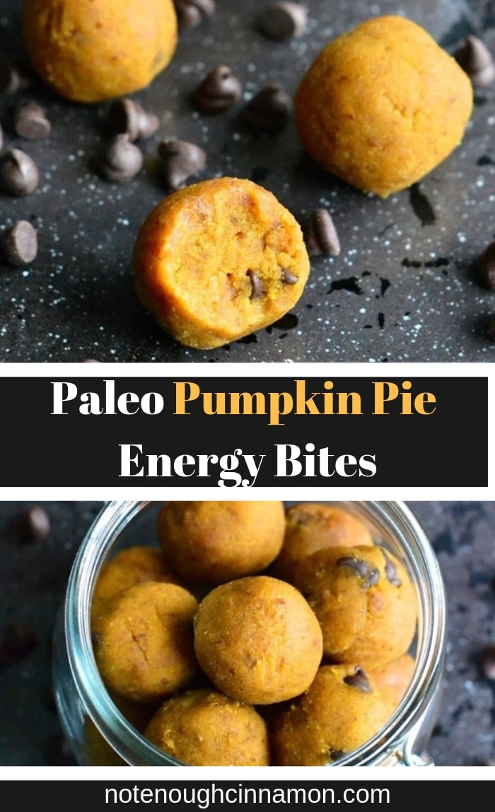 You only need 4 ingredients and 15 minutes to make these easy no-bake Paleo Pumpkin Pie Energy Bites. The perfect healthy fall treat or pre-workout snack! #paleosnacks, #preworkoutsnack, #energybites, #blissballs, #healthyrecipes #vegan #skinnysnacks #glutenfreesnacks