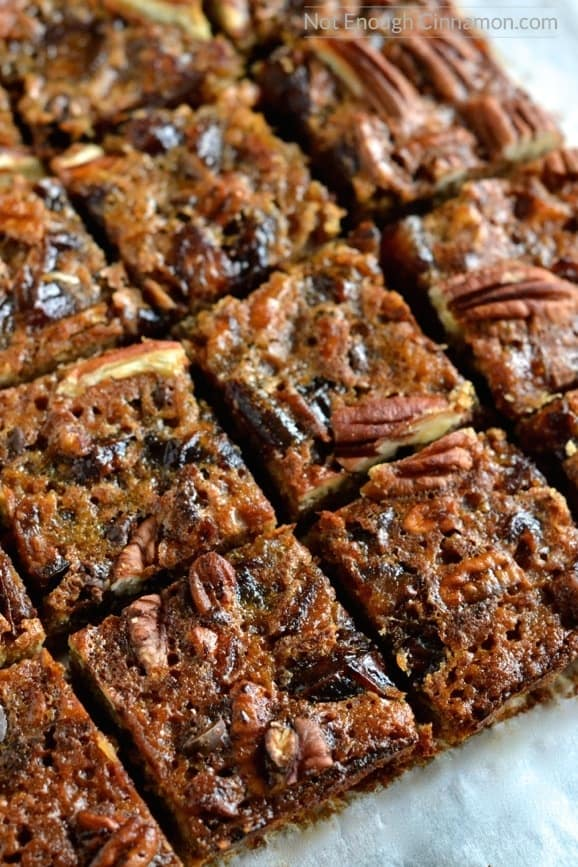 overhead shot of healthy pecan date bars on a piece of parchment paper cut into squares