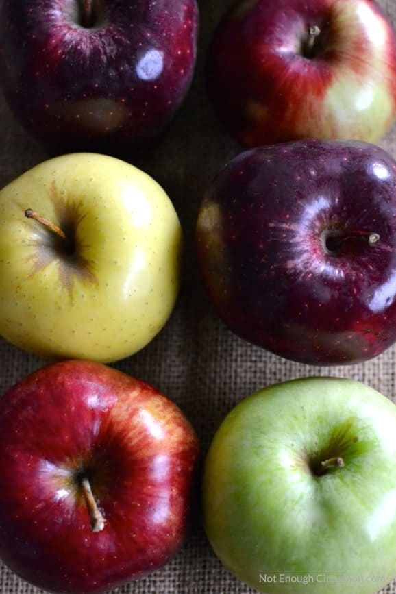 different colored apples on a piece of cloth