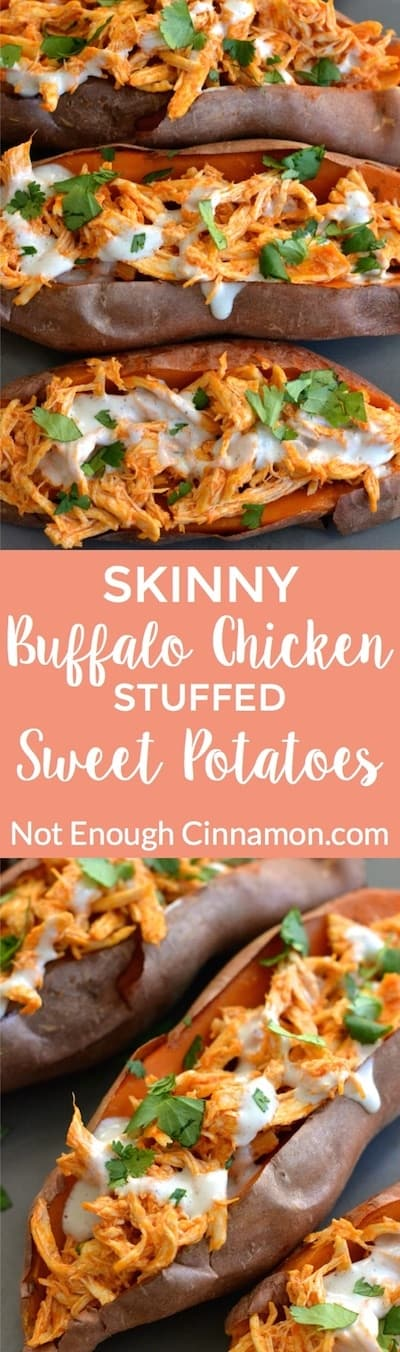 Baked sweet potatoes loaded with buffalo sauce shredded chicken + skinny blue cheese sauce! So delicious and comforting! Find the recipe on NotEnoughCinnamon.com #glutenfree #healthy #dinner