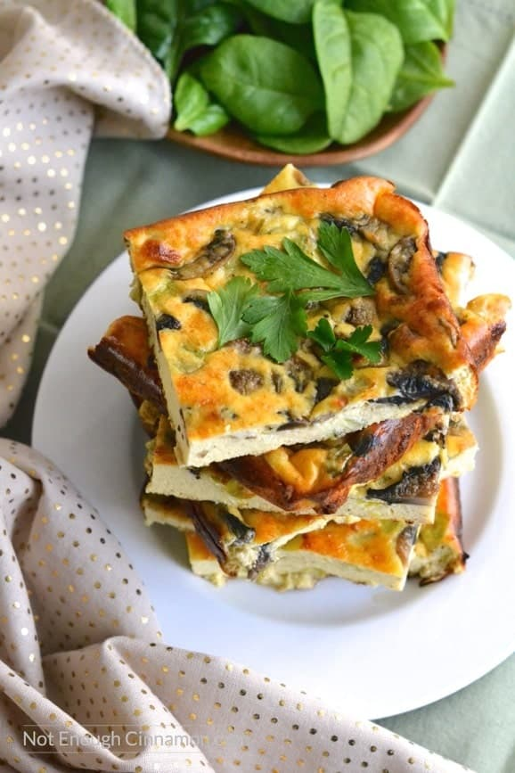 Leek, Mushroom and Ricotta Frittata | Find this easy and delicious recipe on NotEnoughCinnamon.com