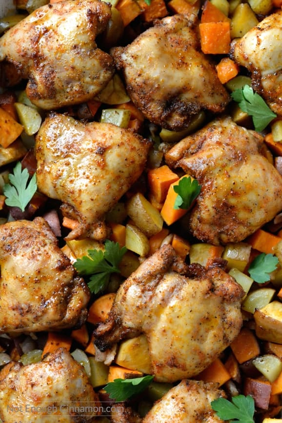One Pan BBQ Spice Chicken Dinner on a sheet pan