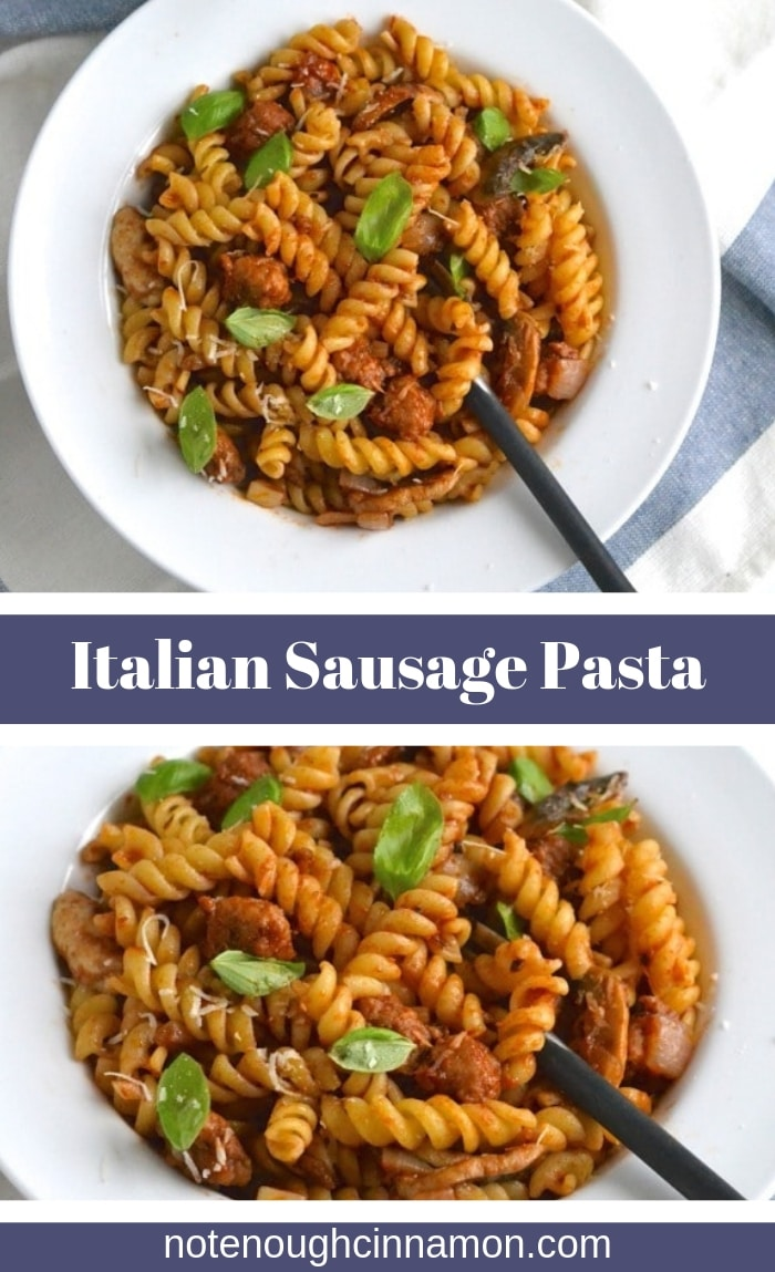 This Italian Sausage Pasta recipe comes in two versions: One classic Italian version with fusilli pasta, one low carb alternative using zucchini noodles (zoodles) as a healthy low-calorie alternative! #cleaneating, #pastarecipes, #easydinners, #weeknightdinner, #pastasauce, #zoodles