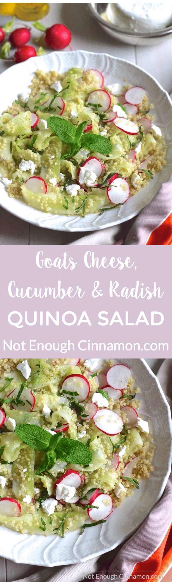 Quinoa Salad with Goats Cheese, Cucumber and Radish. A light but filling healthy salad, naturally gluten free. Click to see the recipe #cleaneating | NotEnoughCinnamon.com