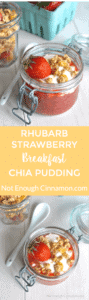Rhubarb and strawberry chia pudding topped with granola and greek yogurt for a nutritious and portable breakfast. Click here to find the recipe | NotEnoughCinnamon.com #healthy #glutenfree