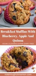 Pinterest graphic of apple blueberry quinoa breakfast muffiins