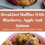 Pinterest graphic of apple blueberry quinoa breakfast muffiins
