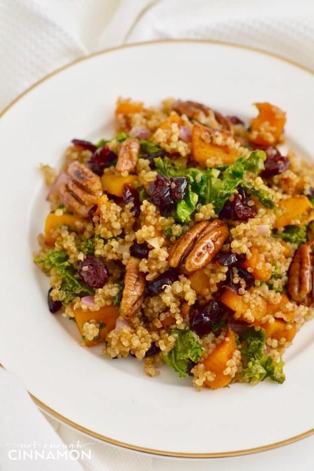 A festive warm quinoa salad with butternut squash, candied pecans, kale and cranberries on a white plate