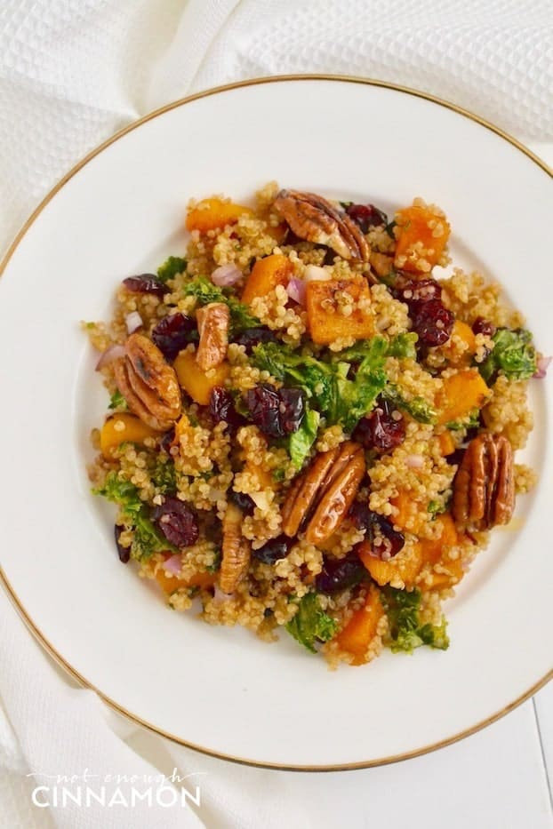 overhead shot of a plate of warm quinoa salad with butternut squash, candied pecans, kale and cranberries