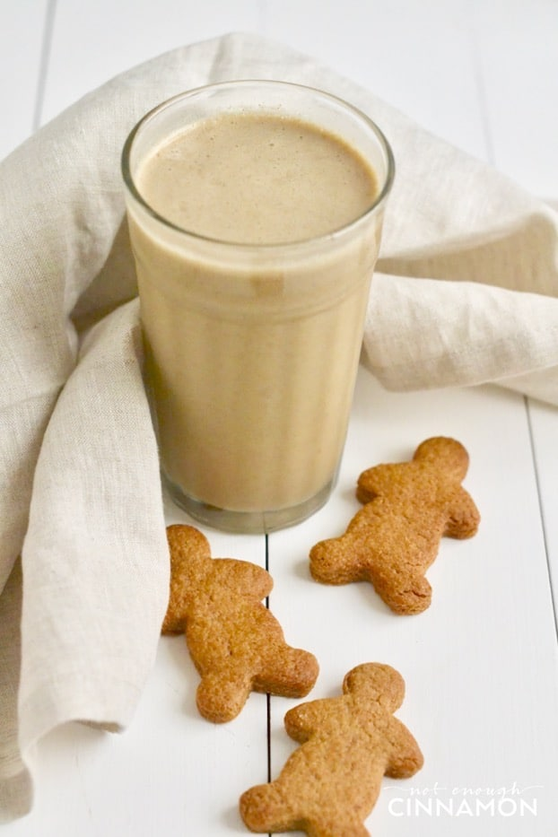 A yummy smoothie that tastes just like a gingerbread cookie but that's only made with healthy ingredients. Find the recipe on NotEnoughCinnamon.com #glutenfree #refinedsugarfree #paleo #vegan