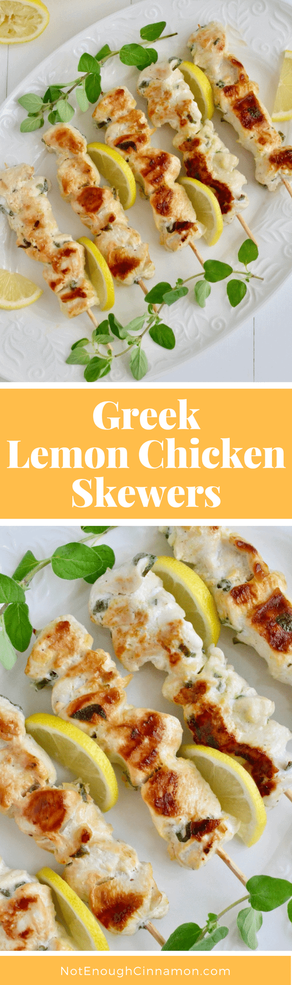 Nothing says summer like these delicious Greek Lemon Chicken Skewers marinated in oregano, garlic, and lemon. So simple yet so delicious! Pair these with Greek salad and a side of tzatziki for a low carb meal! #realfood, #chickenrecipes, #bbq, #lemonchicken, #cleaneating