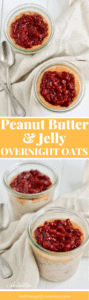 Your favorite Peanut Butter & Jelly Sandwich turned into a healthy overnight oats breakfast! No refined sugar, gluten free and dairy free. Say yes to dessert for breakfast! NotEnoughCinnamon.com