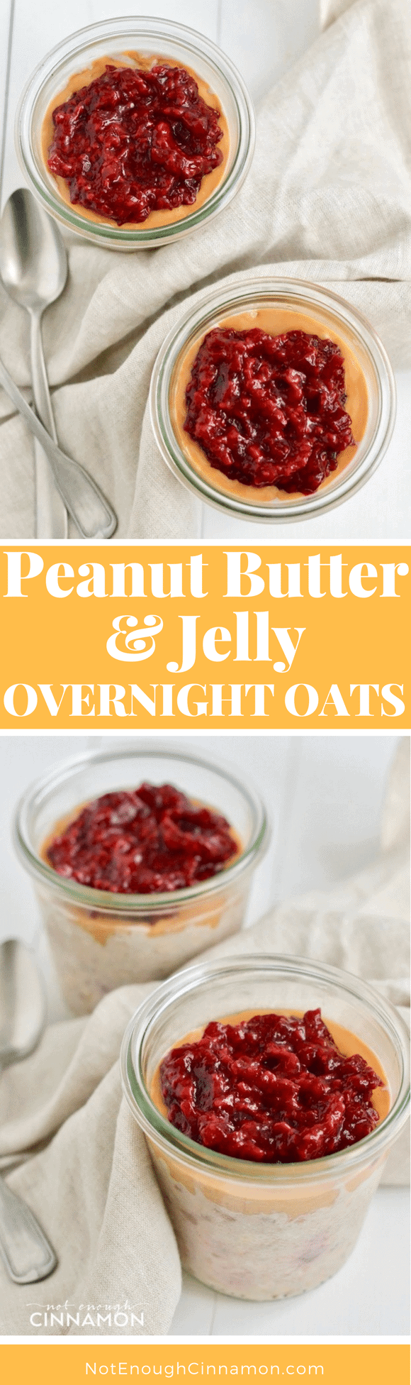 Make these healthy Peanut Butter Overnight Oats topped with a sweet and tart homemade quick raspberry jam using no refined sugar! A guilt-free breakfast dessert, your kids will love! #overnightoats, #breakfastideas, #realfood, #makeahead, #mealprep, #pbandj
