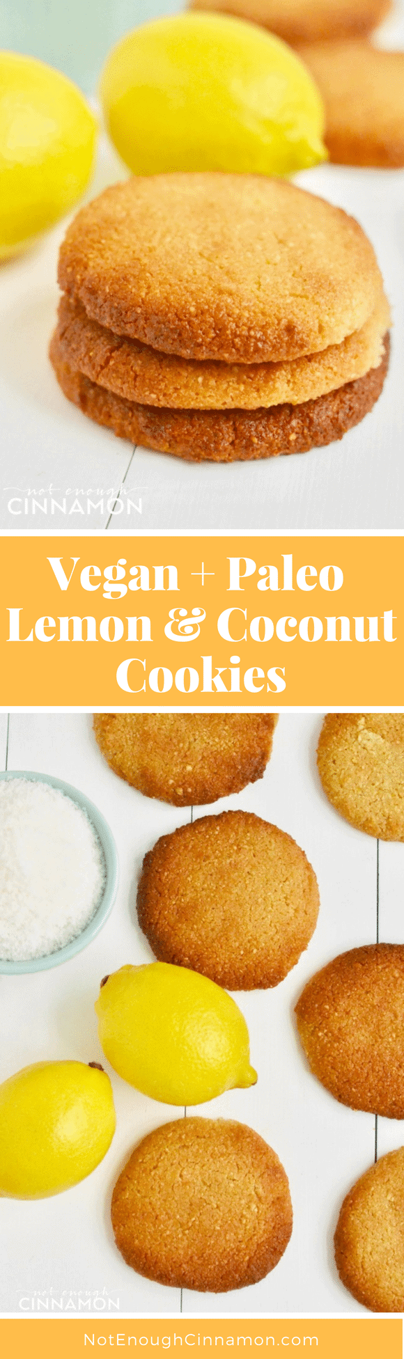 These soft, almost melt-in-your-mouth cookies are bursting with lemon and coconut flavors. They are very easy to make and come together quickly. They are also vegan, free from refined sugar and paleo-approved #refinedsugarfree, #paleodesserts, #vegandesserts, #healthycookies, #realfood, #healthybaking.