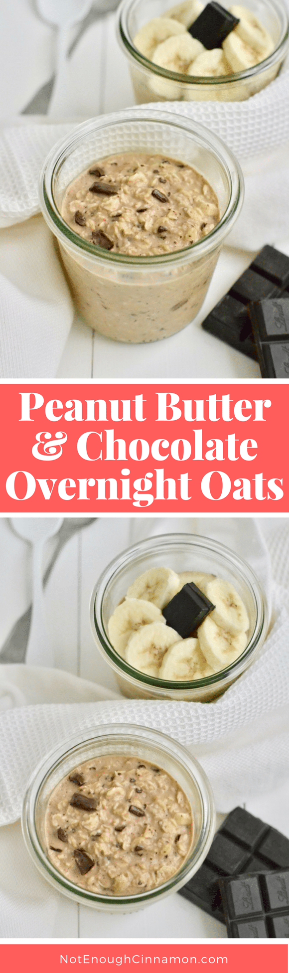 Peanut Butter & Chocolate Overnight Oats! The two greatest breakfast flavors ever combine to form the ultimate combo for these creamy clean eating peanut butter and chocolate overnight oats. Have them for breakfast, or a healthy afternoon or pre-workout snack! #overnightoats, #cleaneatingrecipes, #realfood, #peanutbutter, #oatmeal, #preworkout, #healthydesserts