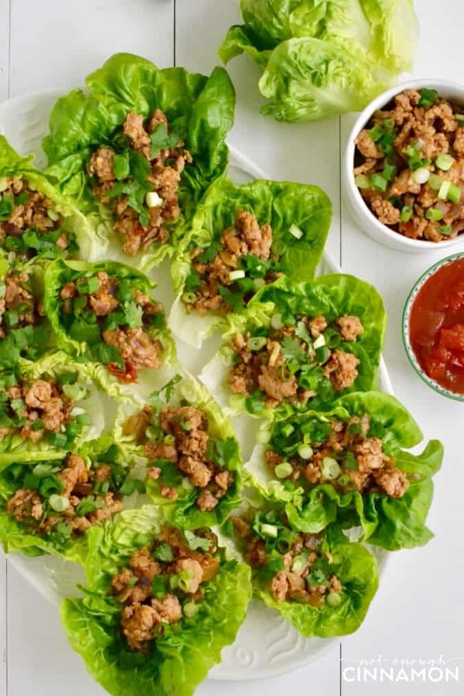 overhead shot of a platter of easy Turkey Lettuce Wraps served with taco seasoning, cilantro and fresh salsa