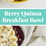 A filling, delicious and healthy breakfast made with quinoa and mixed berries #glutenfree #cleaneating #refinedsugarfree
