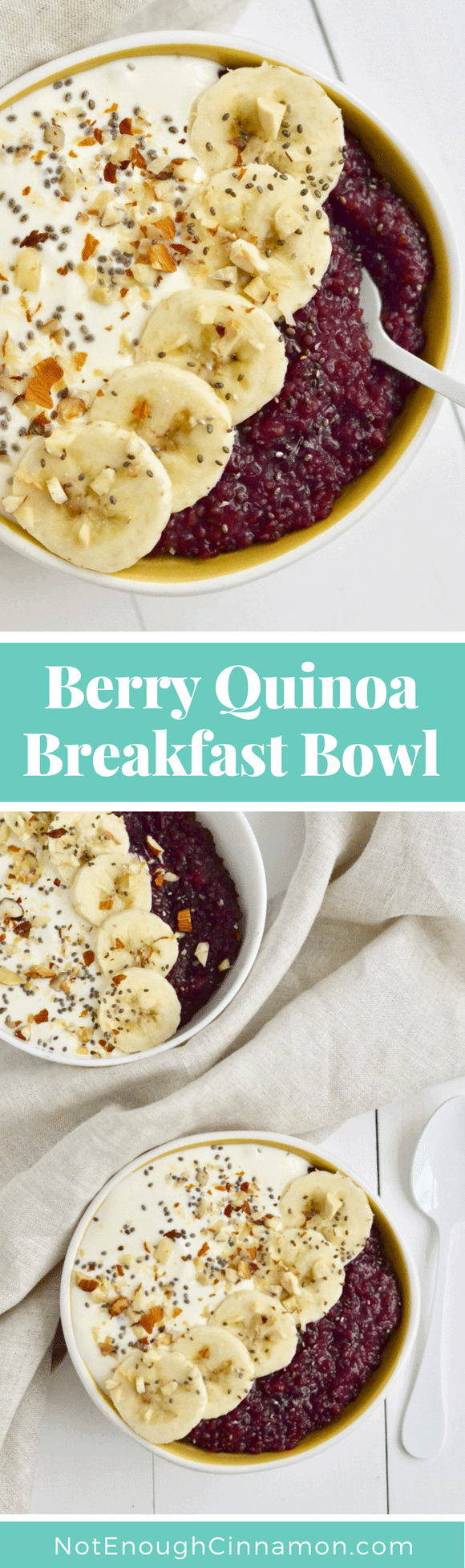 Berry Quinoa Breakfast Bowl | Quinoa for breakfast? Absolutely! In this recipe, the quinoa seeds get a sweet and fruity treatment by simmering with frozen mixed berries, vanilla, cinnamon, and maple syrup! Yay for Quinoa porridge! #quinoabowl, #superfood, #realfood, #breakfastrecipes, #glowbowl, #nourishbowl