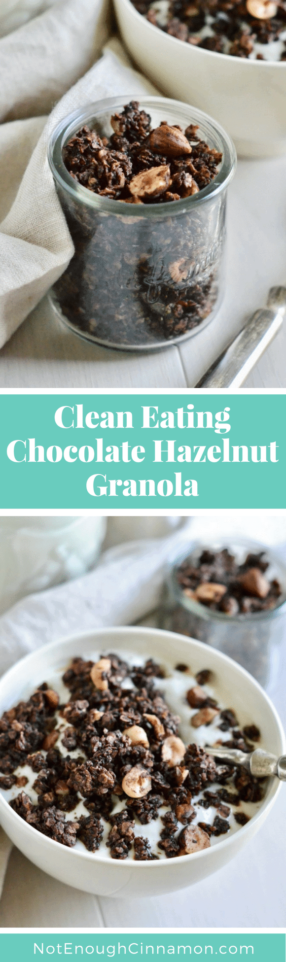 Clean Eating Chocolate Hazelnut Granola | This easy homemade granola with cocoa, hazelnuts and maple syrup is perfect for a healthy snack or breakfast. Plus it is refined sugar-free and gluten-free. #granolarecipe, #rocher, #breakfast, #brunch, #cleaneating, #glutenfreerecipes