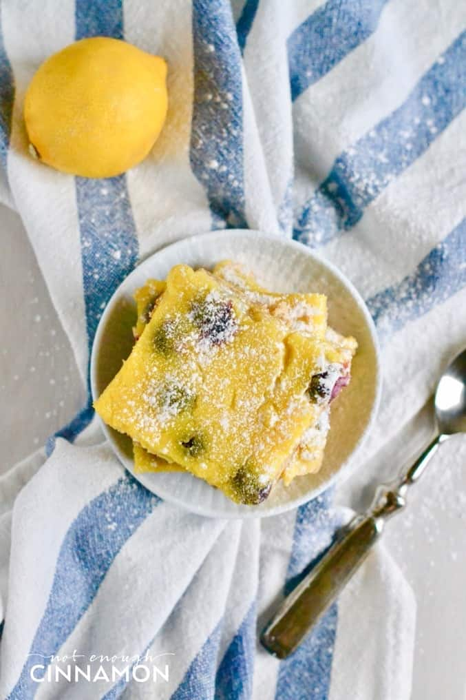 Try this delicious recipe for Blueberry Lemon Bars on NotEnoughCinnamon.com {Gluten Free + Grain Free + Easy Paleo Modification}