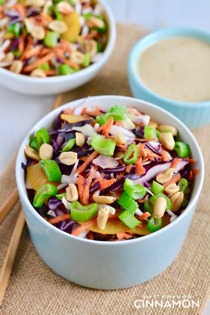 close-up of a bowl of Asian Slaw with a dish of Asian Ginger Peanut Dressing in the back